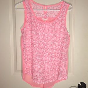 Pink floral bright tank